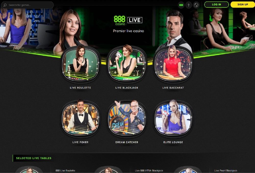 Live games available at 888casino