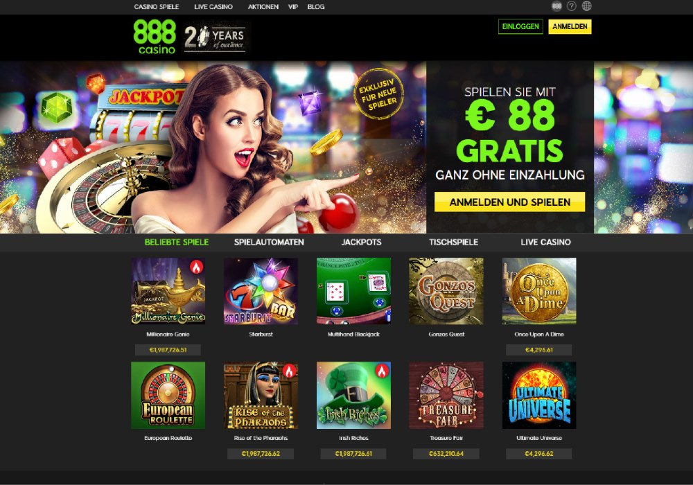 Preview of 888casino's features and gambling options