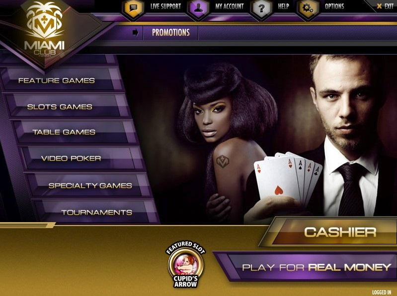 Miami Club offers more than 150 downloadable and instant-play games.