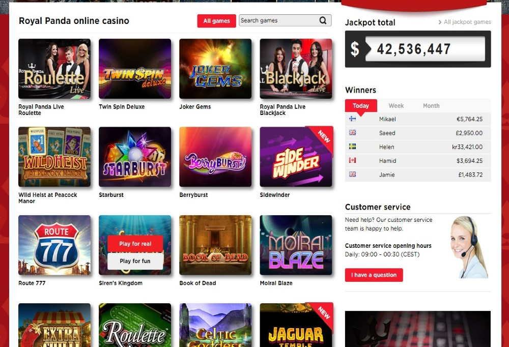 Royal Panda offers wide variety of casino games