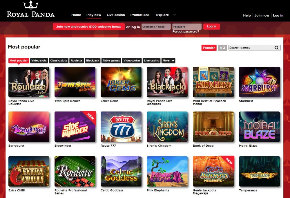 Royal Panda's gaming catalogue offers many gambling opportunities