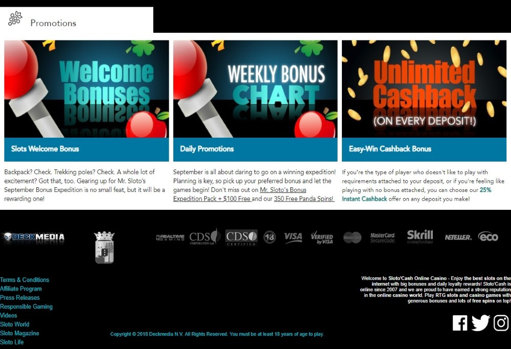 The promotion offers available at Sloto'Cash Casino.